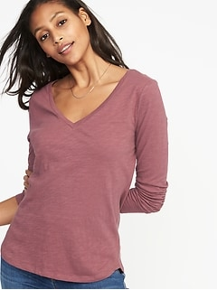 Slub-Knit EveryWear V-Neck Tee for Women