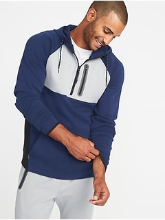 Built-In Flex Color-Block 1/2-Zip Hoodie for Men