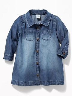 Chambray Pocket Shirt Dress for Baby