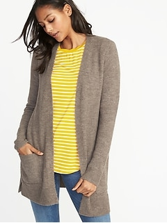 Plush-Knit Long-Line Open-Front Sweater for Women