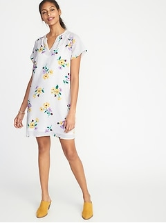 Floral-Print Crepe Shift Dress for Women