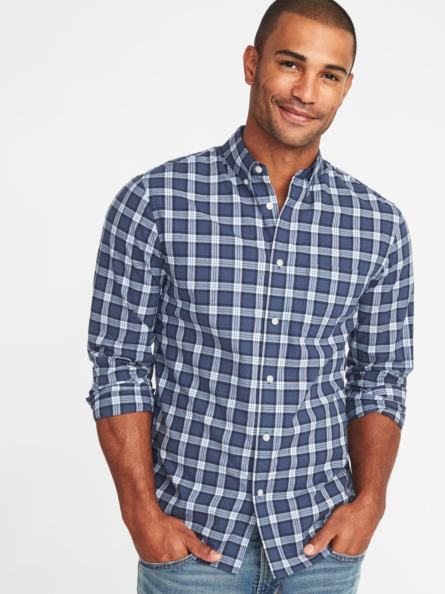 Slim-Fit Built-In Flex Plaid Everyday Shirt for Men  870718501