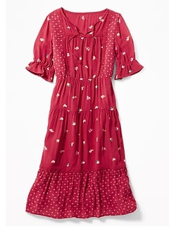 Crinkle-Crepe Prairie Midi Dress for Girls