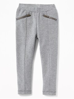 Ponte-Knit Zip-Pocket Stevie Pants for Toddler Girls