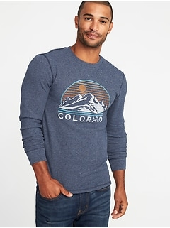 Soft-Washed Graphic Thermal Crew-Neck Tee for Men