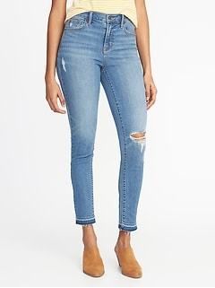 Mid-Rise Curvy Distressed Skinny Ankle Jeans for Women