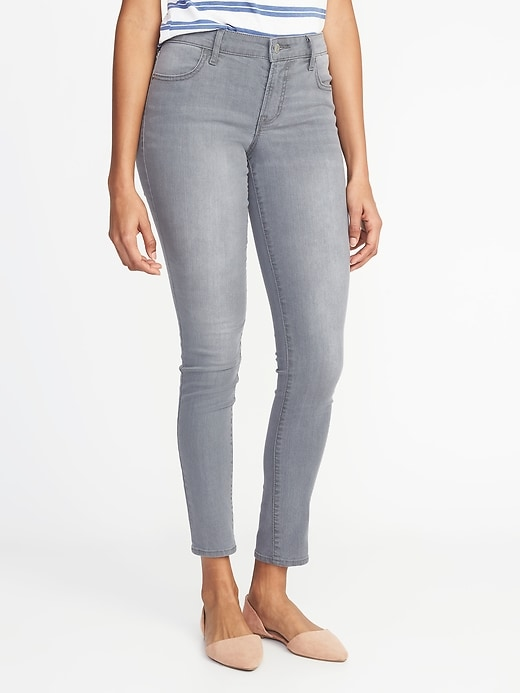Mid-Rise Gray-Wash Super Skinny Jeans for Women