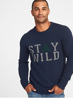 Graphic Crew-Neck Sweater for Men