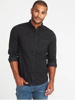 Slim-Fit Black Denim Shirt for Men