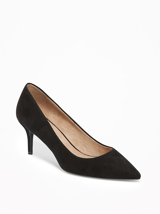 Sueded Mid-Heel Pointy-Toe Pumps for Women