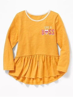 Jersey Peplum-Hem Top for Toddler Girls