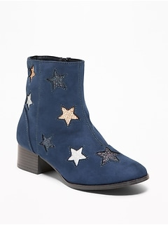Faux-Suede Glitter-Star Block-Heel Boots for Girls