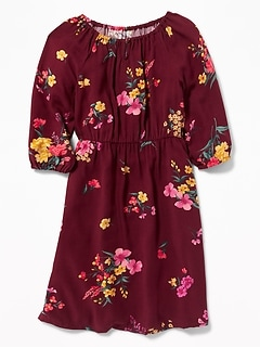 Floral-Print Waist-Defined Dress for Girls