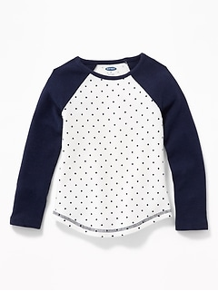 Polka-Dot Raglan-Sleeve Thermal Tee for Toddler Girls