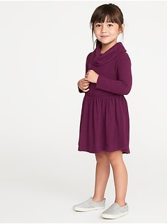 Fit & Flare Plush-Knit Cowl-Neck Dress for Toddler Girls