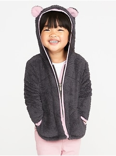 Micro Fleece Critter Zip Hoodie for Toddler Girls