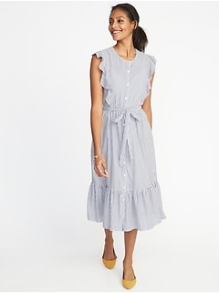 Flutter-Sleeve Tie-Belt Midi Shirt Dress for Women
