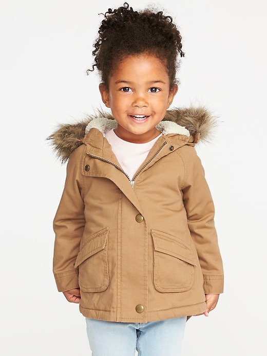 Hooded Faux Fur Trim Field Jacket For Toddler Girls by Old Navy