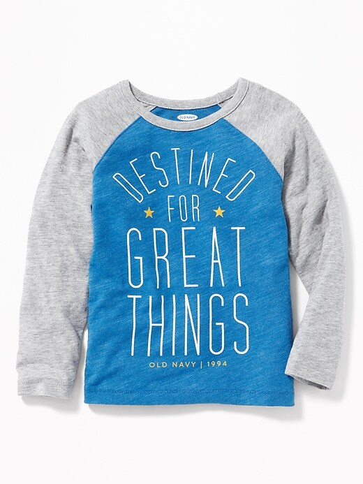 Logo Graphic Slub Knit Raglan Tee For Toddler Boys by Old Navy
