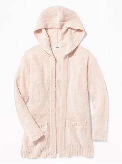 Hooded Open-Front Sweater for Girls