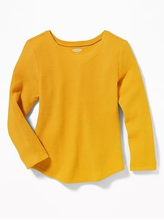 Soft-Washed Thermal-Knit Tee for Toddler Girls