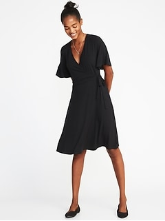 Tie-Belt Flutter-Sleeve Faux-Wrap Dress for Women