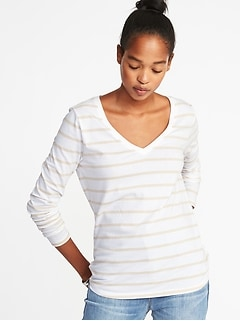 EveryWear Striped V-Neck Tee for Women