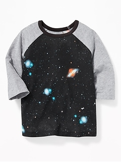 Galaxy-Graphic 3/4-Sleeve Tee for Toddler Boys