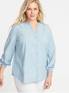 Relaxed Banded-Collar Denim Plus-Size Shirt