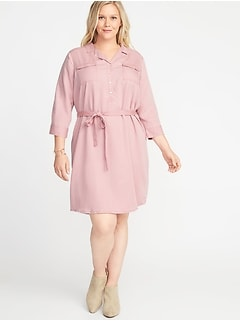 Plus-Size Tie-Belt Utility Shirt Dress