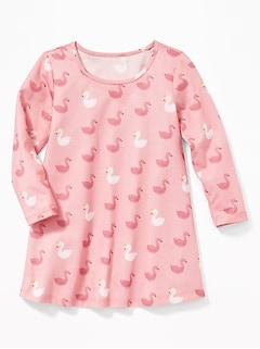 Swan-Print Sleep Dress for Toddler Girls & Baby