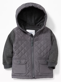 Quilted Micro Performance Fleece-Lined Hooded Jacket for Baby