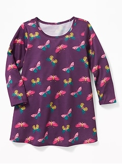 Butterfly-Print Sleep Dress for Toddler Girls & Baby