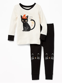 """Scary Cute"" Black Cat Sleep Set for Toddler Girls & Baby"