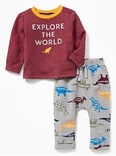 Dinosaur-Graphic Sweatshirt and Leggings Set for Baby