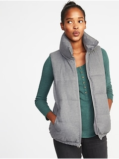 Textured Frost-Free Puffer Vest for Women