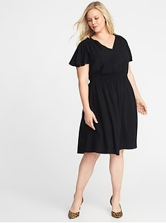 Waist-Defined Plus-Size V-Neck Dress