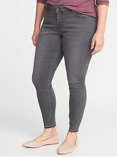 High-Rise Secret-Slim Pockets Plus-Size Released-Hem Gray Rockstar Jeans
