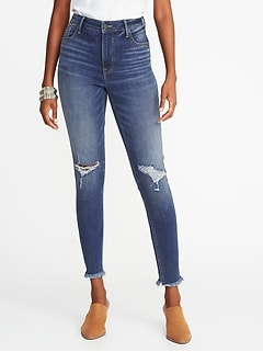 e108574767605 High-Rise Secret-Slim Pockets Raw-Edge Rockstar Ankle Jeans for Women