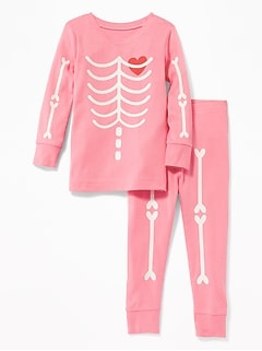 Glow-in-the-Dark Skeleton Sleep Set for Toddler Girls & Baby