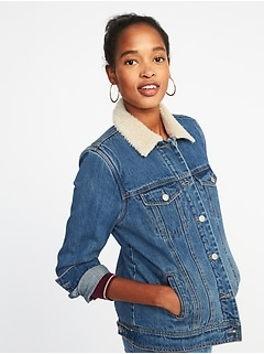 Sherpa-Lined Denim Jacket for Women