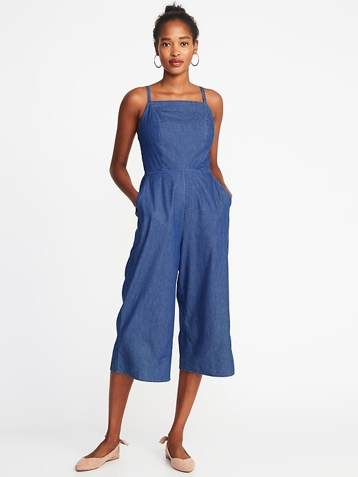 Waist Defined Square Neck Cami Jumpsuit For Women by Old Navy