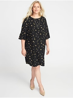 Floral-Print 3/4-Sleeve Plus-Size Shift Dress