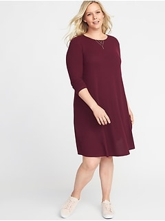 Plush-Knit Plus-Size Swing Dress