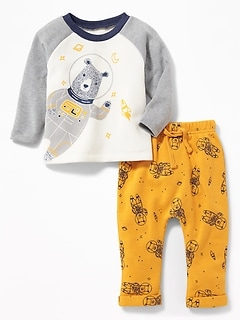 Bear-Graphic Sweatshirt and Pants Set for Baby