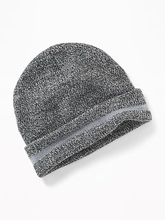 Lightweight Marled Reflective-Trim Beanie for Boys