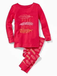 """Free Spirit"" Feather-Graphic Sleep Set for Toddler Girls & Baby"