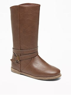 Tall Faux-Leather Buckled Boots for Girls