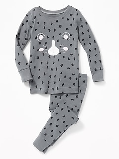 Gray Leopard Sleep Set for Toddler Girls & Baby