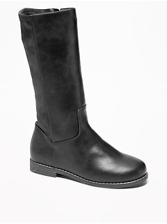 Tall Sueded-Stretch Faux-Leather Boots for Girls